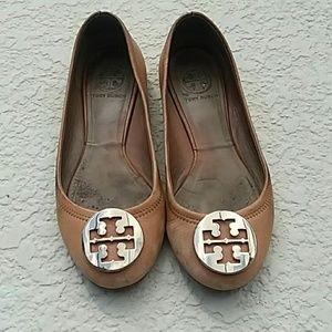 Tory Burch Tan Slip on Ballet Flats Shoes